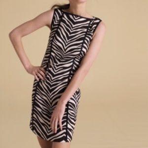 J.Crew Zebra Print Shift Sleeveless Linen Dress